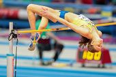 GOTHENBURG, SWEDEN - MARCH 2 Emma Green Tregaro (SWE) competes in the  women's high jump event durin
