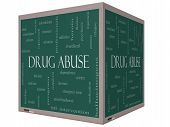 foto of methadone  - Drug Abuse Word Cloud Concept on a 3D Cube Blackboard with great terms such as addiction heroin disease relapse and more - JPG