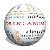 stock photo of abused  - Drug Abuse 3D Sphere Word Cloud Concept with great terms such as addiction heroin disease relapse and more - JPG
