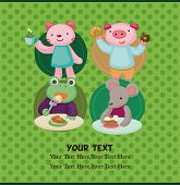 stock photo of parti poodle  - cartoon animal tea time card