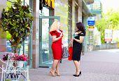 picture of plus size model  - happy plus size women shopping talking on the street - JPG