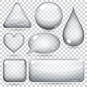 image of oval  - Transparent glass shapes or buttons various forms - JPG