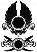 foto of saber  - set of ornamental shields with wings and sabers - JPG