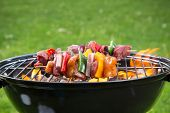 image of barbie  - Delicious grilled meat skewers on fire - JPG