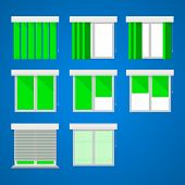 stock photo of louvers  - Set of vector icons for windows with green curtains and louvers on blue - JPG