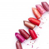 stock photo of lipstick  - Broken Lipsticks isolated on white background - JPG