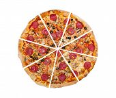 foto of time-piece  - Delicious pizza isolated on the white background - JPG