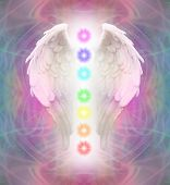 stock photo of chakra  - A pair of Angel wings with the seven chakras between on a swirling delicate energy background - JPG