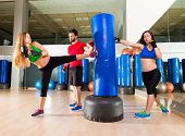 stock photo of cardio exercise  - Boxing aerobox women group with personal trainer man at fitness gym - JPG