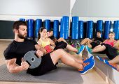 foto of abdominal muscle  - Abdominal plate training core group at gym fitness workout - JPG