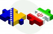 foto of iranian  - Vector illustration of Bosnia Herzegovinan and Iranian Flags in puzzle isolated on white background - JPG