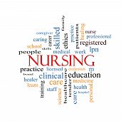 picture of rn  - Nursing Word Cloud Concept with great terms such as licensed skills caring and more - JPG