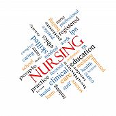 stock photo of rn  - Nursing Word Cloud Concept angled with great terms such as licensed skills caring and more - JPG