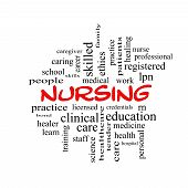 stock photo of rn  - Nursing Word Cloud Concept in red caps with great terms such as licensed skills caring and more - JPG