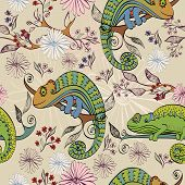 stock photo of chameleon  - Vector hand drawn illustration with cartoon Chameleon - JPG