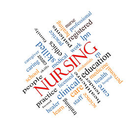 foto of rn  - Nursing Word Cloud Concept angled with great terms such as licensed skills caring and more - JPG