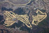 stock photo of kanto  - Country club in Kanto Japan - aerial view of golf course.