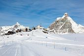 stock photo of rosa  - Plateau Rosa in Cervinia ski resort - JPG