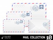 Постер, плакат: Air mail envelope with postal stamp isolated on white background
