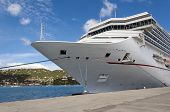 pic of cruise ship caribbean  - Cruise ship docked at a port in the Caribbean Sea - JPG