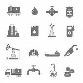 pic of fuel economy  - Oil industry gasoline processing  symbols icons set with oilman  tanker truck petroleum can and pump isolated vector illustration - JPG