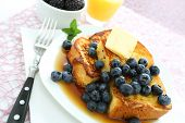 picture of french-toast  - French Toast and Blueberries in breakfast setting - JPG