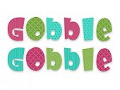 Colorful Glossy text Gobble Gobble on white background for Happy Thanksgiving Day celebrations. poster