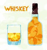 picture of scotch  - Glass of scotch whiskey and ice on a white background - JPG