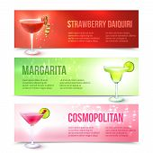 pic of cosmopolitan  - Strawberry daiquiri margarita cosmopolitan cocktails horizontal banner set isolated vector illustration - JPG