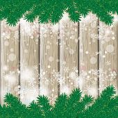 picture of x-files  - Snow with fir branches on white wooden background - JPG