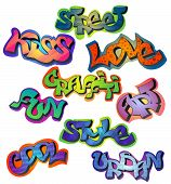 pic of street-art  - Graffiti words set with street kiss love art fun style cool urban isolated vector illustration - JPG