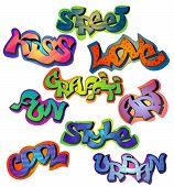stock photo of street-art  - Graffiti words set with street kiss love art fun style cool urban isolated vector illustration - JPG
