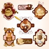 pic of frappe  - Coffee colored decorative labels set with turk beans cinnamon isolated vector illustration - JPG