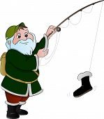 pic of redneck  - Man Fishing and Catching a Boot vector illustration - JPG