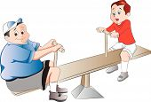 stock photo of seesaw  - Two Boys Playing on a Seesaw vector illustration - JPG