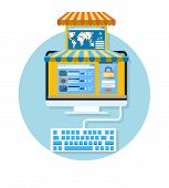 stock photo of awning  - Internet shopping concept computer with awning of buying products via online shop market store flat design - JPG