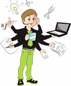image of multitasking  - Vector illustration of a successful businessman multitasking in the office - JPG