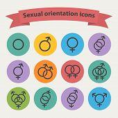 stock photo of hetero  - Vector sexual orientation black web icons - JPG