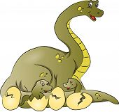 image of dinosaur-eggs  - Vector illustration of dinosaur mother with newborn coming out of cracked eggshells - JPG