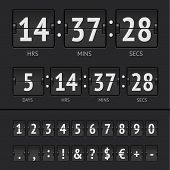 stock photo of countdown timer  - Black countdown timer and scoreboard numbers - JPG