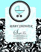 stock photo of fancy cakes  - Vintage baby shower invitation card with ornate elegant retro abstract floral design white on brown and pale blue with baby carriage on cake - JPG