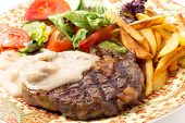 stock photo of rib eye steak  - Grilled rib - JPG
