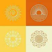 picture of outline  - Vector outline sun icons and logo design elements  - JPG