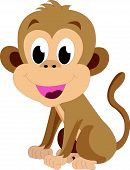 pic of baby-monkey  - Baby monkey brown smiling vector drawing illustration - JPG