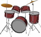 pic of drum-kit  - Vector drawing illustration of drum kit or set - JPG