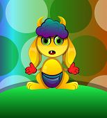 picture of scared baby  - Horned Creature Yellow Baby Alien vector illustration - JPG