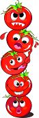 foto of wacky  - Tomato or Solanum lycopersicum Stack Red Crazy and Funny Five vector illustration - JPG