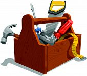 stock photo of mechanical drawing  - Vector illustration of wooden toolbox with repairing tools - JPG