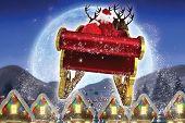 pic of quaint  - Santa flying his sleigh against quaint town with bright moon - JPG