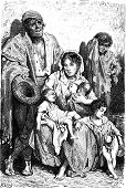 pic of beggar  - A family of beggars in Jaen vintage engraved illustration - JPG
